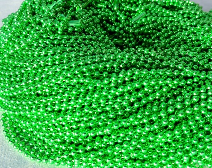 Light Green Ball Chain Necklaces - 24 inch - 2.4mm Diameter - Set of 10 Spring Green