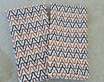 dinner cloth napkins- black and tan fretwork