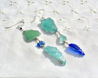Big Asymmetric Two Tone Sea Glass Earrings Very long Silver Earrings Blue Aquamarine Silver Glass Earrings Statement Earrings Free Shipping
