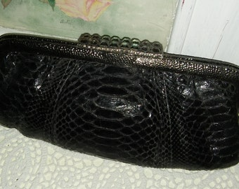 Vintage Clara Kasavina black pythone snakeskin rhinestones pounded metal frame clutch evening bag purse handbag