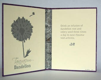 Flower Lore Diptych – Silver Dandelion (Taraxacum) – 2 Color Letterpress Endsheets with Book Casing Structure (Item No. 247)