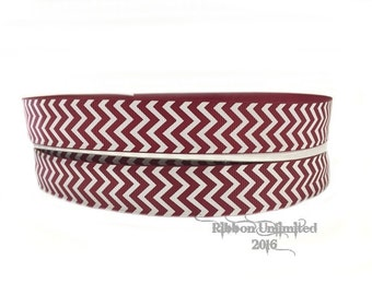 10 Yds. WHOLESALE 7/8 Inch Maroon & White Chevron grosgrain ribbon LOW SHIPPING Cost