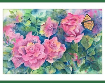 Watercolor Roses, Collage Pink Roses, Watercolor Collage, Butterfly, Pink and Green, Abstract, Pink Roses, Stamp, Martha Kisling