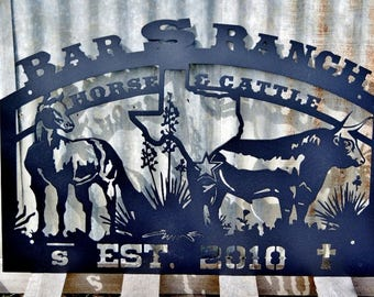 Texas Ranch Horse and Cattle Sign LMW-16-31