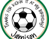 Personalized Soccer Stickers - Favor Labels, Party Favor, Address Labels, Gift Tag, Birthday Stickers, Sports Team - Choice of Size