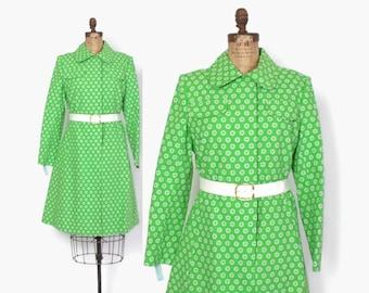 Vintage 60 Mod Green Floral Jacket / 1960s Lime & White Belted Deadstock Rain Coat