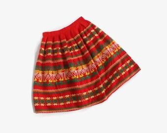 Vintage 50s Girl's Guatemalan Skirt / 1950s Little Girl's Ethnic Print Cotton Full Skirt 7-8 Kids