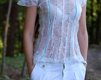 "Nuno-felt blouse ""Easines"""