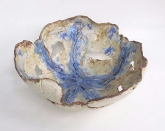 Blue Ceramic Centerpiece Bowl Abstract Clay Art Dish Contemporary  Pottery Statement Vessel Decorative One-Of-A -Kind  Home Accent Bowl
