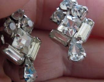 "Vintage earrings, signed ""Belle"" earrings, baguette crystal earrings, wedding jewelry,screw-back earrings, bridal earrings, vintage jewelry"