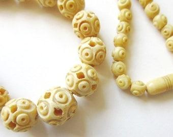 "Faux Ivory Celluloid Necklace, Antique Art Deco Graduated Beads 30"""