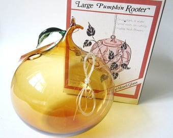 Large Pumpkin Plant Rooter, Vintage Hand Blown Art Glass, New in Box