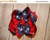 April SAMPLE SALE Navy Anchor Nautical Custom Boutique Hair Bow