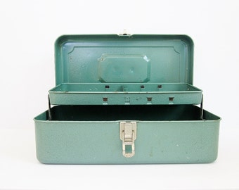 Metal Tackle Box Turquoise Color Vintage Tool Box 13 Inch Storage Box Rustic Man Cave Decor Reclaim Upcycle Salvage Retro Mid Century Decor
