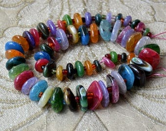 Multicolor Agate nugget stone beads loose strands,Gemstone Beads,geode agate stone beads