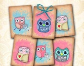 50% OFF SALE Owls gift tags 2.5 x 3.5 inch Digital Collage Sheet ATC Aceo size printables. Hang tags. Owl party digital download. Gift decor