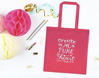 Christian Tote Bag ~ Pure Heart ~ Psalm 51:10 ~ Hand-Lettered Design ~ Pink Black Red