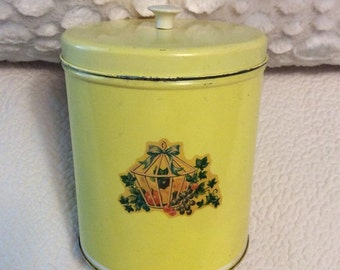 "HOLIDAY 25% SALE Vintage Tin Box, Canister Metal Yellow with Knob 8"" Gift Box Collectible"