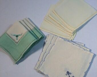 Vintage Napkin Lot 1950s to 1960s 3 sets of 4 each Linen Cocktail and Tea Napkins Vintage Linens