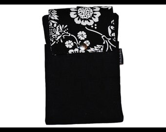 Black & White Vine Twill Zipper Cell Phone Holder, Wallet, iPhone Case, Samsung Case, Droid, Phone Case