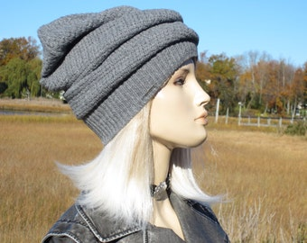 Winter Hat Gray Wool Women's Thick Warm Beanie Turban Unique Hats by Vacationhouse A1597