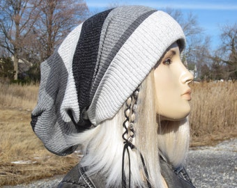 Oversized Tams Extra Long Dread Tam Hat Cotton Knit Slouchy Beanie Dreadlock Tam Charcoal Gray Stripe Winter Hat  A1937