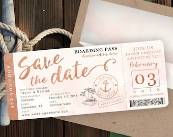 Rose Gold Watercolor Destination Nautical Cruise Wedding Boarding Pass Save The Date by Luckyladypaper - Customized PDF file for DIY Print