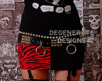 Red Zebra and Black Half & Half Skirt PUNK Skirt Animal Print Street Punk Rock Clothing Rock n Roll Mini Skirt 80s Rocker Glam Rock XS - XXL