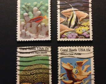 Four (4) Coral Reef Recycled Postage Magnets: coral reefs, Virgin Islands, Samoa, finger coral, elkhorn coral, brain coral, chalice coral