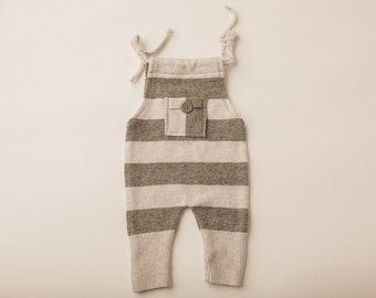 Dark Grey and Grey Stripe Fuzzy Sweater Overall- Newborn Photography Overall Set