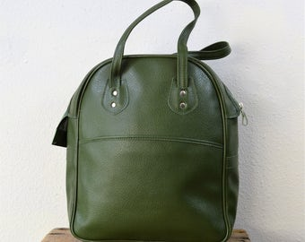 1970s Avocado Green Overnight Bag Small Tote Bag Large Purse Vinyl Green Retro Carry All
