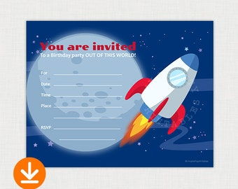 Astronaut - Out of this World Birthday Party - Printable Birthday party invite - DIY Fill In Birthday Invitation