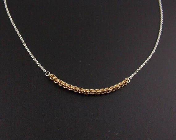 Minimalist Gold Fill JPL Bar Necklace