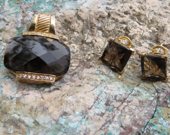 Vintage 925 Seta Brown Quartz Pendant With Matching Earrings, Jewelry Set, For Pierce Ears, Autumn Fall Wear, Mother's Day, Sterling Silver