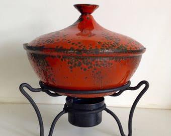 Hanova Red Molten Lava Brutalist Fondue Pot