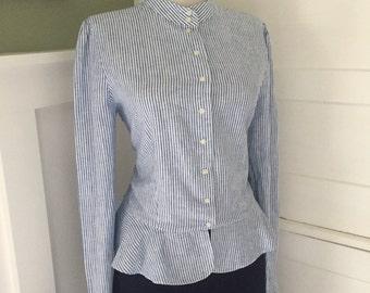Flirty 1950s 1960s Blue & White Victorian Cotton Striped Button Down Long Sleeve Peplum Ruffle HemBlouse