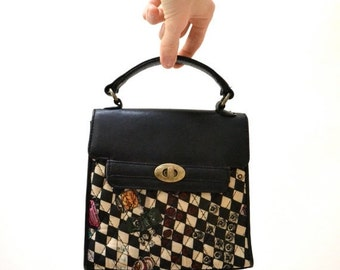 Sale 15% off Vintage Quilted Nicole Miller Black and White Checker Vegas Purse// Silk and Leather Quilted Bag