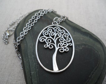Silver Tree Of Life Necklace - Silver Tree Pendant - Silver Tree Necklace - Tree of Life
