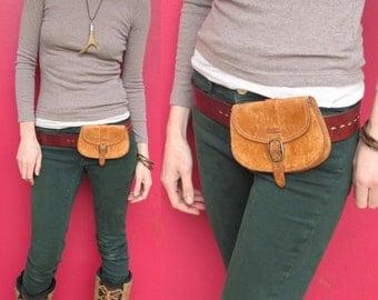 Leather Bag for Belt BURNER BELT Vintage Genuine Leather Belt Pouch Purse
