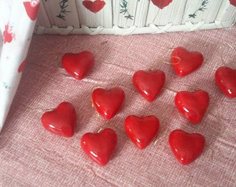 "8 RED HEARTS ornament decorations 1 1/4"" craft supplies"