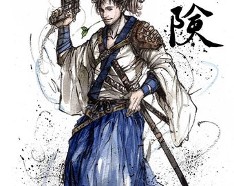 8x10 PRINT Samurai crossover Han Solo with Japanese calligraphy Adventure
