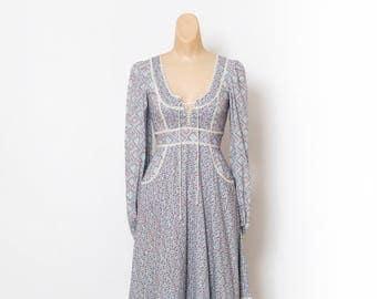 Vintage 1970s  Dress / 70s Dress / Vintage  Dress / Boho Dress / 60s / Hippie dress / long dress / Flowers / 70s Gunne Sax Dress / Blue