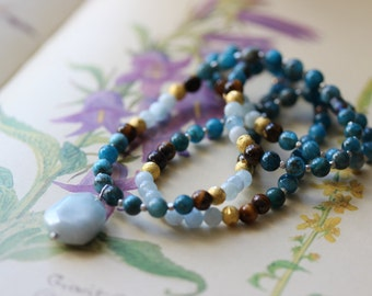 108 Bead Apatite Gemstone Mala // teacher gift // one of a kind