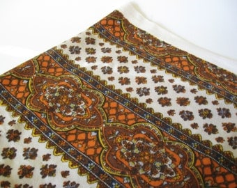 Gabrielle Cie boho floral striped vintage cotton upholstery 2 yards plus orange brown taupe