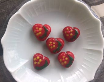 Lamp-worked Glass, Floral Heart Beads, Red, Green, Yellow, Lot of 5