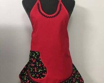 Cherry Theme Fabric  Frilly Apron