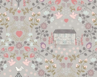 Dove House on Warm Grey  165.3  - Lewis and Irene Fabric - By the Yard