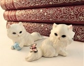 Glass Cat Figurine, Persian Cat, Fluffy Cat and Butterfly & Blue Yarn Ball Set, 2 Small White Cats, Asian Porcelain Vintage Cat