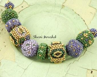 Sale - Reduced 30% - Beaded Beads set of 10 - by Sharri Moroshok