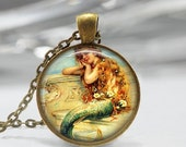 ON SALE Mermaid Necklace Mythology Fantasy Sirens of the Sea Art Pendant in Bronze or Silver with Link Chain Included